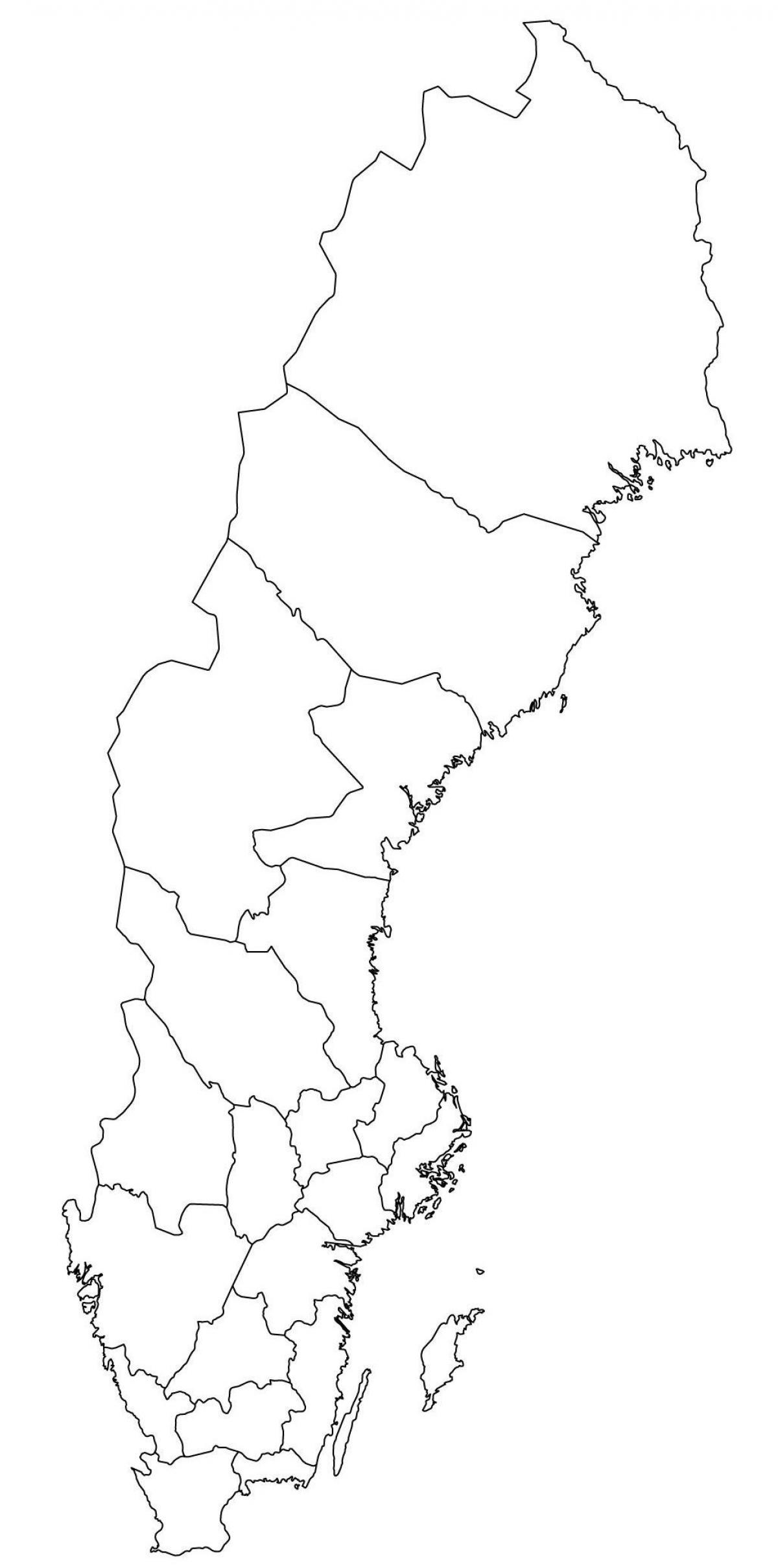 Szwecja Mapa Kontur Mapa Konturowa Szwecji Europa Północna Europa
