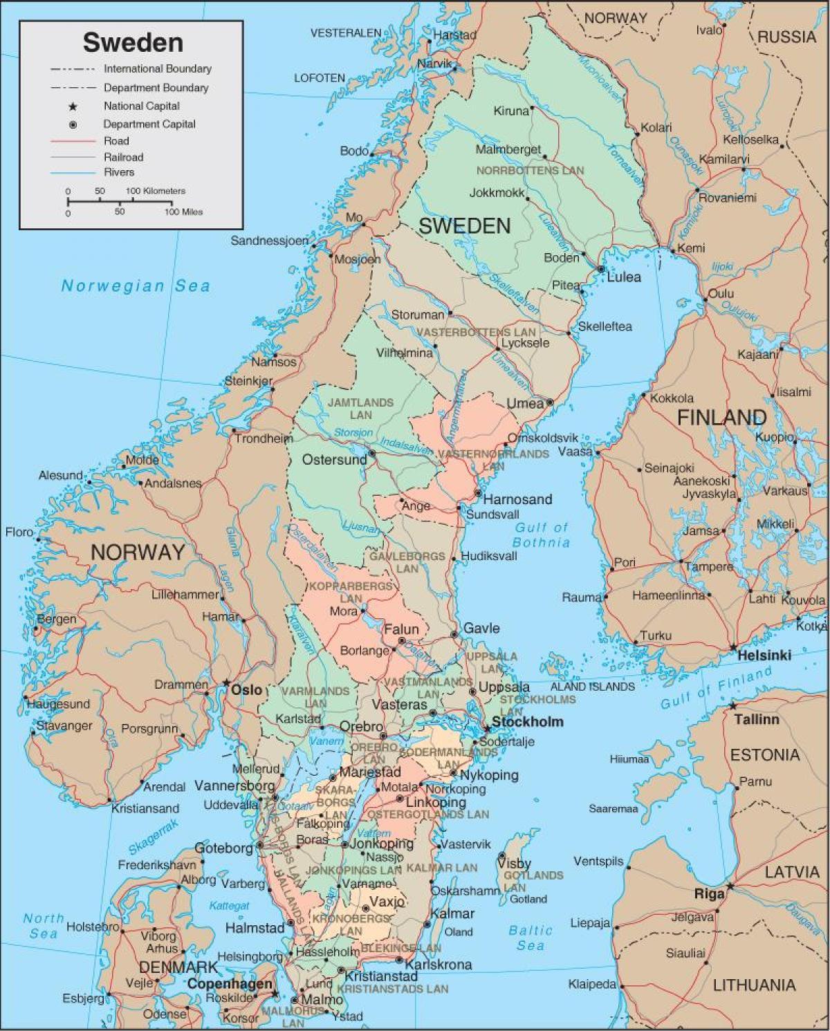 Mapa Szwecji Szczegolowa Mapa Szwecji Europa Polnocna Europa