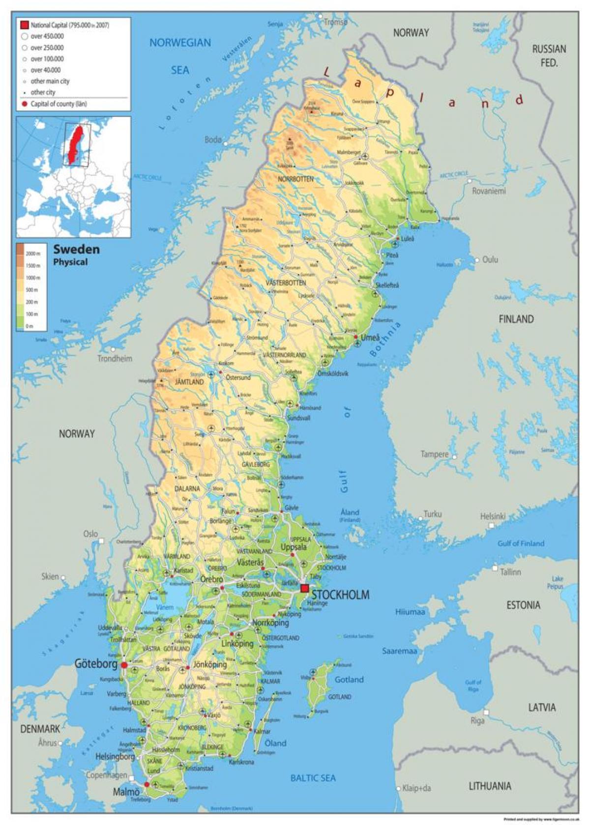 Szwecja Fizyczna Mapa Fizyczna Mapa Szwecji Europa Polnocna Europa