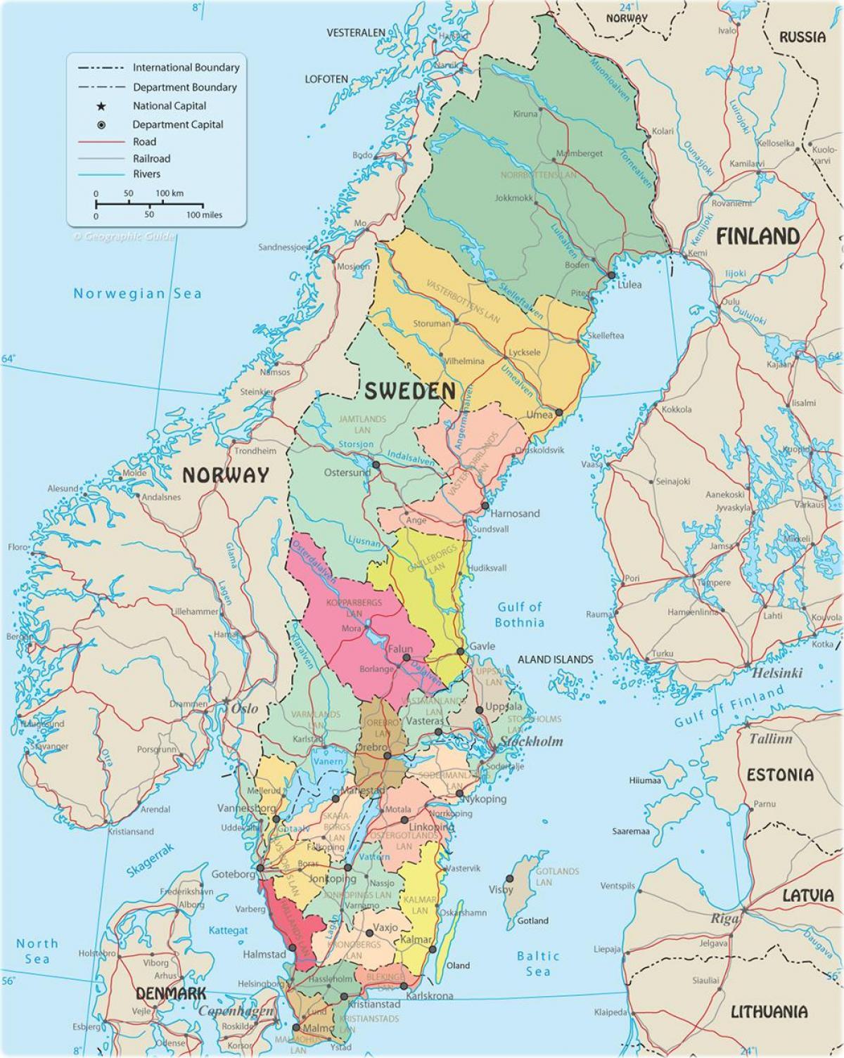 Szwecji Polityczna Mapa Polityczna Mapa Szwecji Europa