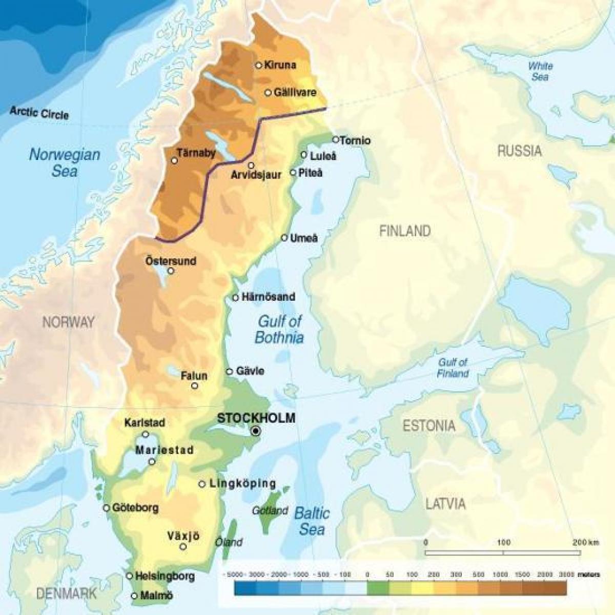 Szwecja Wysokosc Mapa Szwecja Wysokosc Europa Polnocna Europa